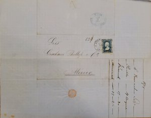 J) 1874 MEXICO, HIDALGO'S HEAD, 25 CENTS BLUE, CIRCULATED COVER, FROM MEXICO