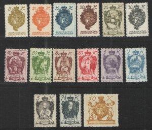 Liechtenstein 1920 Sc# 32-46 MH/HR VG - Complete set