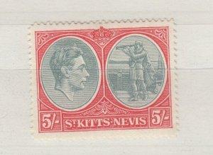 St Kitts - Nevis KGVI 1938 5/- Perf 14 SG77a MVLH J8395
