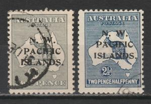 NWPI NEW GUINEA 1918 KANGAROO 2D & 21/2D 3RD WMK USED