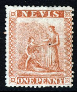 NEVIS Queen Victoria 1867-76 One Penny Pale Red Perf 15 SG 9 MINT
