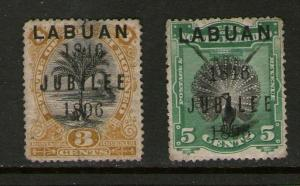 Malaya S. Setts. Labuan 1896 SG 85 ,86 MH but both thin