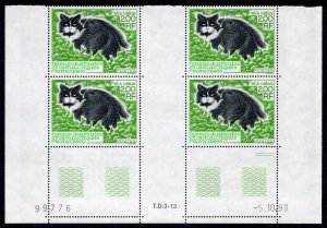 FSAT  TAAF 1994 Sc#195 Domestic Cat Block of 4 perforated with Gutter-Pairs MNH
