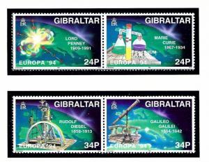 Gibraltar 654a and 656a MNH 1994 Europa