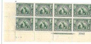 US# 328 1c Jamestown Expo , green Plate# block of 8 (MH&MNH)  CV $400.00