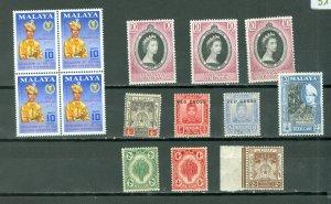 MALAYA STATES NICE LOT of 14...MNH...$32.00