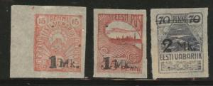Estonia Scott 55-57 stamp set 1920 thin on 57