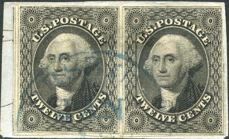 #17 USED PAIR WITH BLUE TOWN CANCEL CV $625.00 BN6140