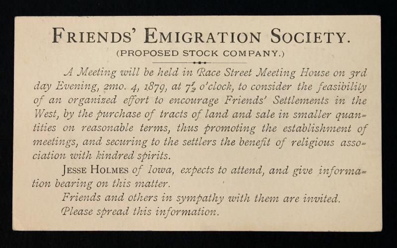 US Postal Card Sc# UX5  Preprinted on back Friend's Emigration Society 1879