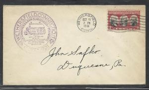 US #703-2b Yorktown Wethersfield C of C cachet addressed