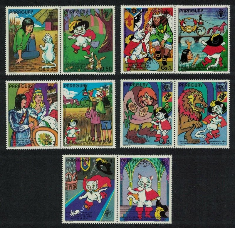 Paraguay MNH Set Of 10 Puss In Boots Fairy Tales