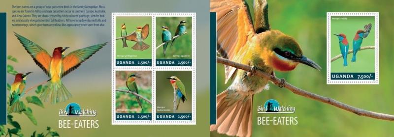 Z08 UGN14310ab Uganda 2013 Bee - Eaters SET Postfrisch ** MNH
