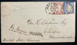1872 Leipzig Germany Vintage Cover To Chicopee MA USA