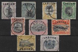 LABUAN SG62/74 1894-6 OVERPRINT SET OF 9 USED