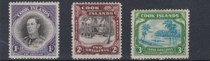 COOK ISLANDS  1938  S G 127 - 129  SET OF 3 TO 3/-  MH  CAT £95