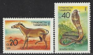 Turkmenistan Scott # 29 - 30, mint nh