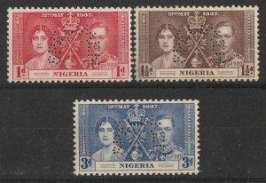 NIGERIA : 1937 KGVI Coronation set 1d-3d perf SPECIMEN. MNH **.