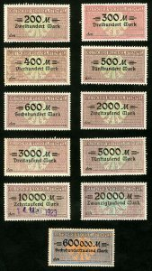 Germany Stamps FVF MH Lot of 10 Revenues