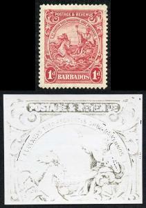 Barbados SG231 1d Scarlet Major re-entry U/M