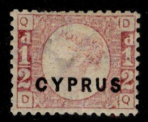 CYPRUS QV SG1, ½d rose, M MINT. Cat £225. PLATE 12