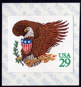 SC#2596 29¢ Eagle & Shield Affixing Machine Single (1992) SA