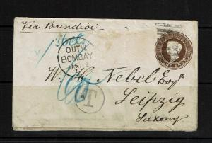 India Early 1A Postal Stationary Seapost to Germany - Lot 092417