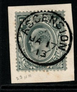 GB USED ABROAD IN ASCENSION SGZ31 1902-11 7d GREY-BLACK FINE USED ON PIECE