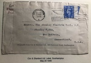 1949 Southampton England Commercial Economy Label Cover To New Britain CT USA