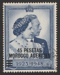 MOROCCO AGENCIES Spanish Currency : 1948 KGVI Silver Wedding 45Pi on £1.