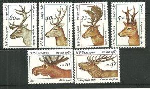 Bulgaria MNH 3256-61 Deer 1987
