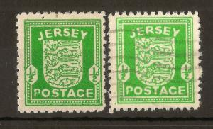 Jersey 1942 0.5d Arms 'Break in P' Variety Mint & Used