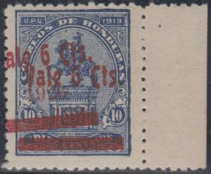 HONDURAS 1926 Sc 236c DARK BLUE MARGINAL SINGLE WITH DOUBLE SURCHARGE MNH F,VF