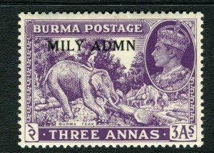 BURMA; 1945 early GVI MILY ADMIN issue fine Mint hinged 3a. value
