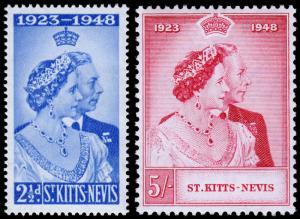 St. Kitts & Nevis Scott 93-94 (1949) Mint NH VF, CV $11.25 C