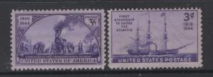 US 1944 Railroad & Steamship Stamps Scott 922-3 MNH