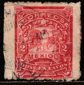MEXICO 258, 2cents MULITA WMK RM INTERLACED. USED. F-VF. (263)