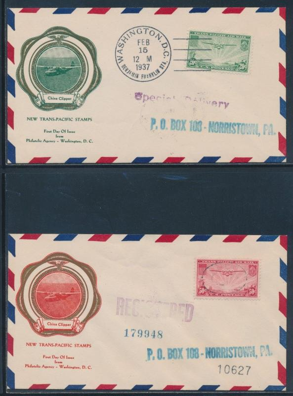 #C21-C22 ON FDC CACHET BY F.R. RICE CHINA CLIPPER FEB 15,1937 BU4259