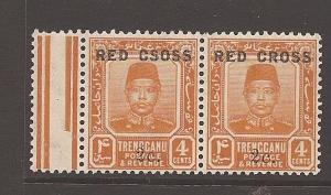 Malaya Trengganu Red Cross SG 20+20c Csoss error MNH (5ath)