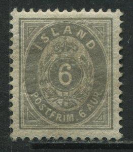 Iceland 1897 6 aurar gray mint o.g. hinged