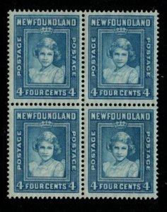 Newfoundland  Sc 247 1938 4c Princess Elizabeth stamp block of 4 mint NH