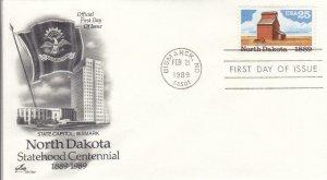 1989, 100th Anniv. North Dakota Statehood, Artcraft, FDC (D14505)
