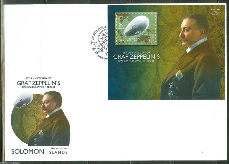 SOLOMON ISLANDS 2014 85th ANN OF GRAF ZEPPELIN'S ROUND WORLD FLIGHT S/S  FDC