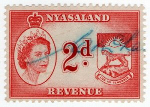 (I.B) Nyasaland Revenue : Duty Stamp 2d