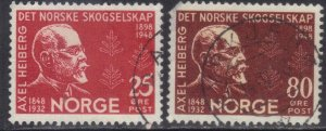 NORWAY SC# 292+293 *USED* 25+80o  1948  SEE SCAN