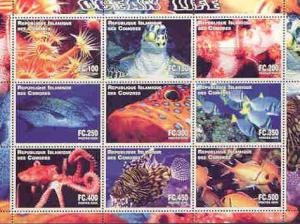 Comoro Islands 2000 Ocean Life perf sheetlet containing c...