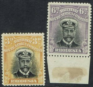 RHODESIA 1913KGV ADMIRAL 3D AND 6D DIE I PERF 15