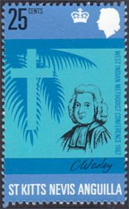 St. Kitts-Nevis # 186 mnh ~ 25¢ Charles Wesley, Cross and Palm