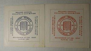CBPS Exbibition 1937 Cicero ILL Olympic Building Philatelic Souvenir Ad Label