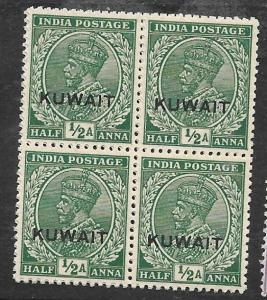 KUWAIT   (P0310BB) ON INDIA KGV 1/2A  SG 16B  BL OF 4   MNH