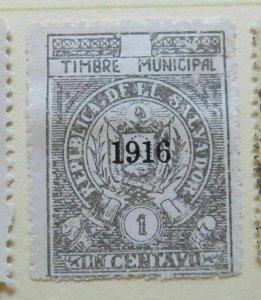 A6P38F177 Salvador Revenue Stamp 1916 1c mint no gum